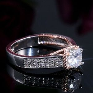 Exquisite Two Tone 925 Silver White Sapphire Ring